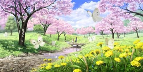 彩铅手绘图片樱花书